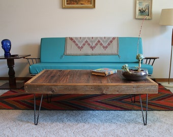 ARCHIE ~ Handmade Modern Reclaimed Wood Record Coffee Table with Hairpin Legs