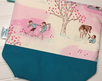 Zippered wedge project bag-A Walk in the Meadow