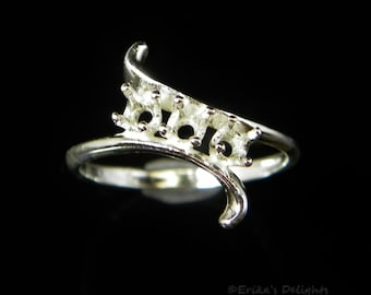 Round Bypass Triple Stone Sterling Silver Pre-Notched RING Setting (ID# 163-276)