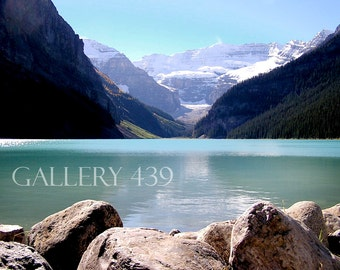 "Banff Lake Louise ""Beyond The Rocks"" Photography Home Decor - Canadian Rockies Mountain Turquoise Lake Nature Canada Fine Art Portrait Photo"