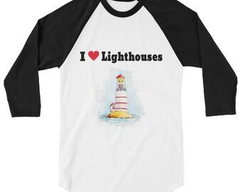 I Love Lighthouses 3/4 sleeve raglan shirt