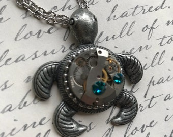 Turtle Jewelry, Steampunk Jewelry,  Steampunk Necklace, Clockworks, Gears, Watch Parts,Gothic, Art, Womens Necklace, Gift Idea
