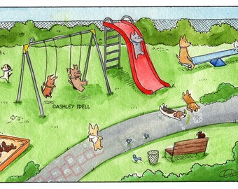 5x7 Dogs at the Park, Playground.  Watercolor Print