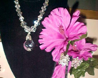 Vintage Rhinestone & Drop Crystal Necklace Earrings INSTANT Face Lift Beautiful BARGAIN