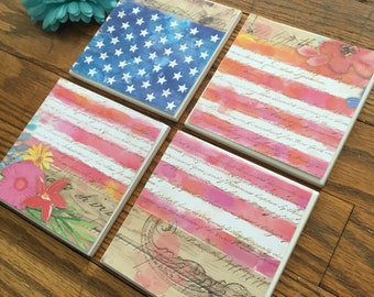American Flag Coasters-set of 4