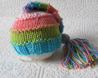 Stocking Hat with Ridges - Size Newborn - Ready To Ship