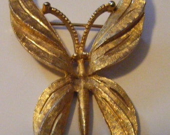Vintage Gold BSK Butterfly Pin or Brooch