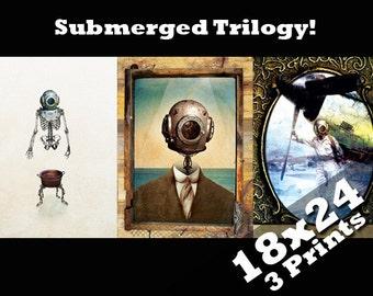 18x24 print trilogy x3 antique industrial nautical decor deep sea diver steam punk posters | Scuba diving steampunk art unique home oddities