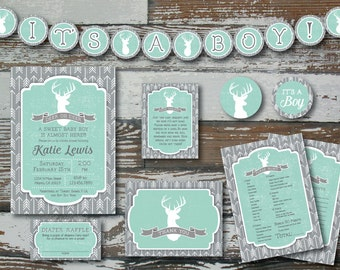"""Deer and Arrow Baby Shower Invitation PLUS 2 """"extras"""""""