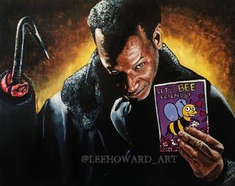 "Candyman ORIGINAL 14""x18"" acrylic painting - Candyman/Simpsons MashUp"