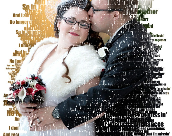 Custom Word Art Text Art Photo Gift Portrait On Canvas Wedding Vows Song Lyric Gift  16x20