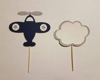 Cupcake Toppers,  Baby Boy Shower, Airplane, Baby Boy Shower,  Plane Theme