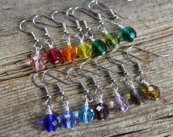 Earrings / Customizable Bridesmaids Gifts / 14 Color Choices / Czech Glass / Bridesmaid Earrings / Simple Earrings / Affordable / Sparkly