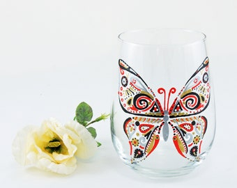 Butterfly glass / Mother's Day gift / Spring wine glass / Hand painted stemless wine glass / Red and black butterfly