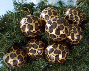 Leopard, Giraffe, Zebra Ornaments Set of 8