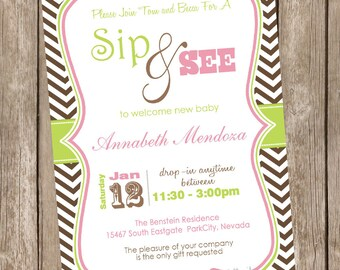 Baby girl sip and see invitation, chevron baby shower invitation, lime green, pink, digital, printable 20121228-K1-1F