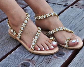 "Wedding sandals ""Catrine"", Pearl sandals, Handmade sandals, Greek Leather sandals, Luxury sandals, Flat sandals,Bridal sandal"