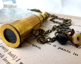 Steampunk Telescope Necklace - Wanderlust Travel Spy Glass Long Necklace