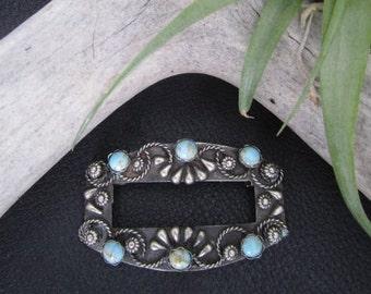 Vintage Sterling Silver & Turquoise Rectangular Brooch