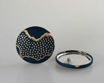 Africa map earrings, Blue fabric earrings, Map of Africa earrings, Fabric button earrings, Blue button earrings, Map jewelry, Button jewelry