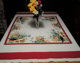 Vintage Wilendur tablecloth, Lily Pads, Lily pond, Retro, 1950's, FREE Shipping!