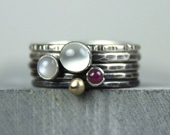 Stacking Rings with Gold, Ruby, White and Silver Moonstones, Hammered Silver Rings, Stackable Gemstone Rings, Ombre Finish