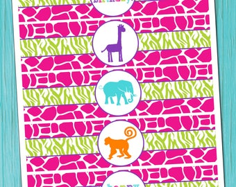 Zoo Birthday Party Water Bottle Labels INSTANT DOWNLOAD