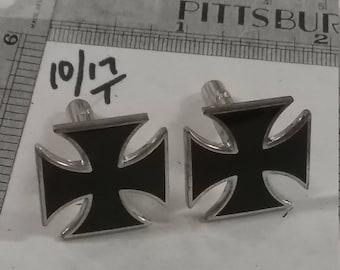 Silvertone iron cross cufflinks used
