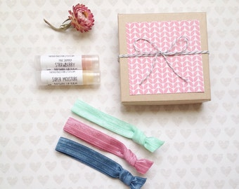 All Natural Small Gift Set - Lip Balm Hair Ties Bath and Beauty Products