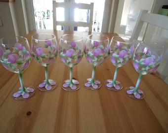 Set of Six Hand Painted Pink Rosebud Wine Glasses