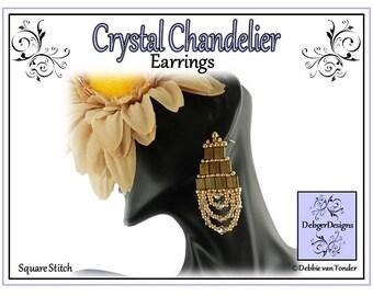 Tila Beading Pattern, Tutorial, Earrings - CRYSTAL CHANDELIER