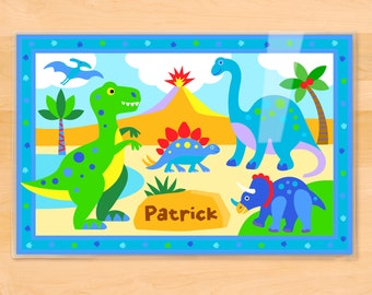 Personalized Kids Dinosaur Placemat, Olive Kids Placemat, Laminated Placemat, Kids Placemat, Dino, T Rex Placemat, Custom, Gift