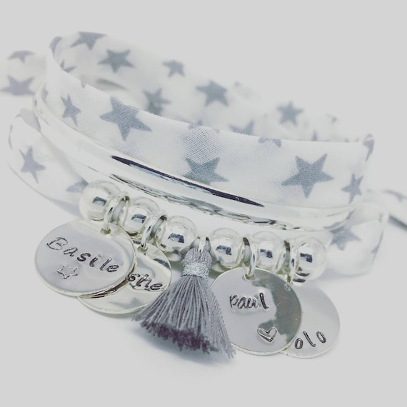 "★ gift idea personalized ★ GriGri XL Liberty ""Silver Stars"" with 4 custom ENGRAVINGS and tassel by Palilo"