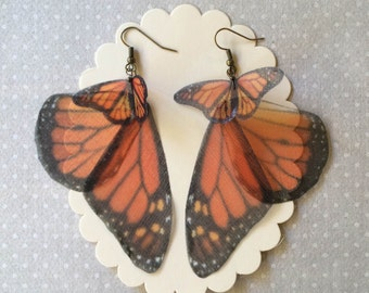 I Will Fly Away - Handmade Silk Organza Monarch Butterfly and Wings Earrings