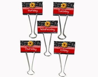"""Teacher Gift Organizer Personalized Binder Clips 2"""" wide Daisy A+ Monday - Friday"""