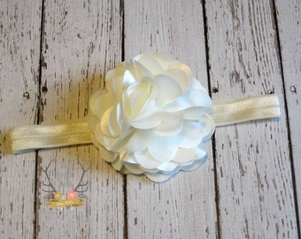 Ivory Headband - Satin & Tulle Flower - Baby Headband - Flower Girl - Headband - Wedding - Bridal