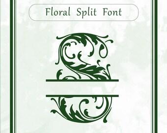 Floral Split Monogram font svg, alphabet svg, dxf, eps, studio3, png file, split letters, cricut design space, silhouette, sure cuts a lot