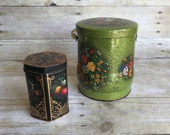Charming Vintage Floral Tins Set of Two - Daher