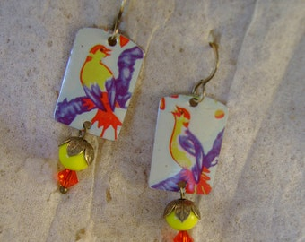 Bird Sisters - Vintage Hand Cut English Birds Tins-Upcycled Repurposed Jewelry Earrings - 10 Year Anniversary Gift