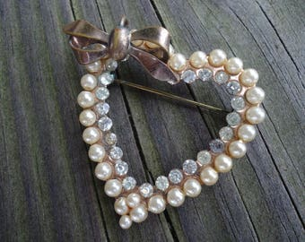Faux Pearl and Rhinestone Heart Brooch