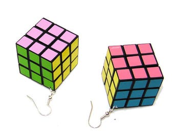 Retro 70's Disco Actual Game Puzzle Cube Pastel Earrings Jewelry 1 1/8 inch cube
