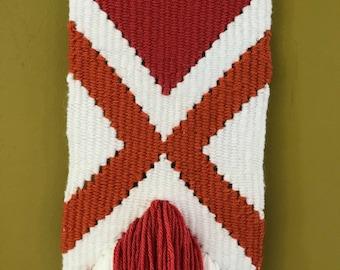 Handwoven / chevron / orange / pink / cream / weaving / fringe