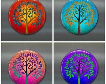 "3.5"" colourful trees fridge magnet set, leaf magnet, fall decor, autumn decor,  kitchen decor, large fridge magnet, housewarming gift"