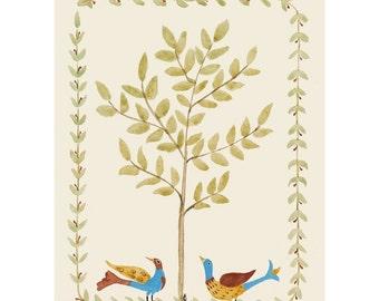 "Folk art frameable greeting card print, ""Rascals"""