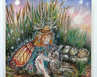 """Art Print of fairy princess playing with frogs called """"Frog Fairy Princess"""", wall decor, home living, art and collectables"""
