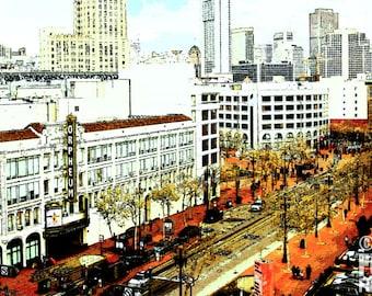 photography, street photography, SanFrancisco, California, Market St, urban, metro, city, street, lifestyle,  Orpheum, sketched art, theater