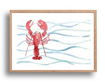 Red Lobster art print, lobser watercolor print, Lobster and waves print, nautical art, marine, sea life, coastal art, beach cottage, fishing