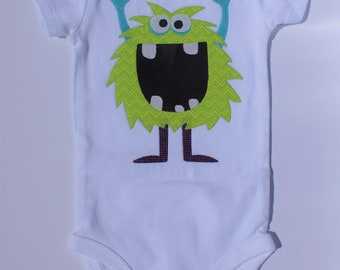 Applique Baby Onesie 9M Green Alien/Monster