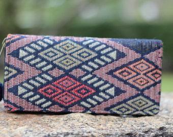 Red Geometric Tribal Womens Wallet    Wallet for Women   Vegan Purse    Boho Purse   Cute Vegan Wallet   Hippie Wallet    Clutch purse