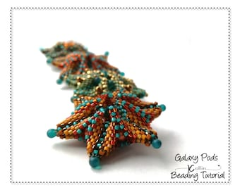 Peyote Stitch Seed Pod Beading Pattern, Delica Bead Tutorial for 6 Pointed Star Pendant Element with Geometric Extensions GALAXY PODS